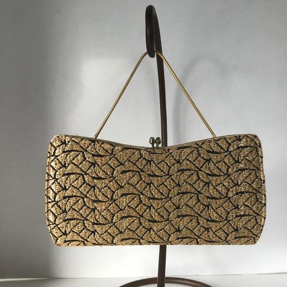 Vintage Handbags - Luxurious Gold Thread Embroidered Sleek Handbag